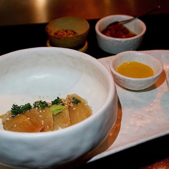 Hiramasa sashimi, aji amarillo, sesame, fresh wasabi