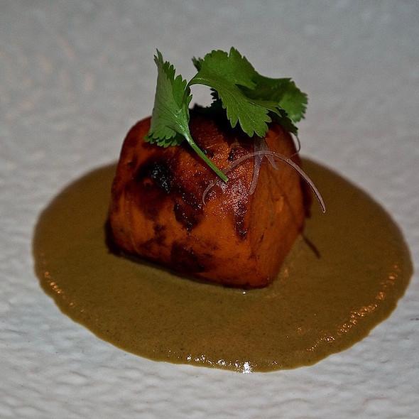 Roasted sweet potato, almond mole, red corn tortillas