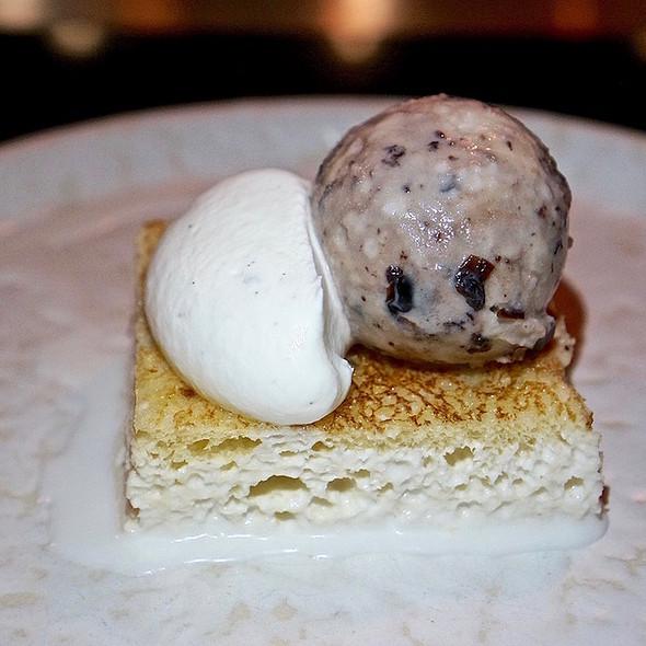 Tres leches cake, black cherry ice cream, vanilla cream