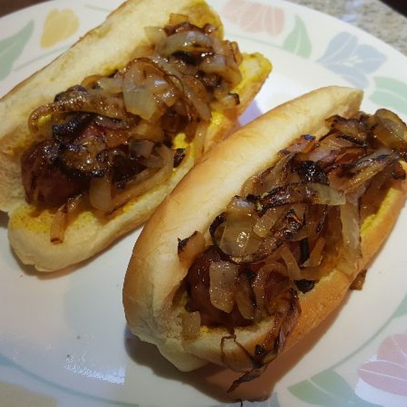 Hot Dogs with Grilled Onions