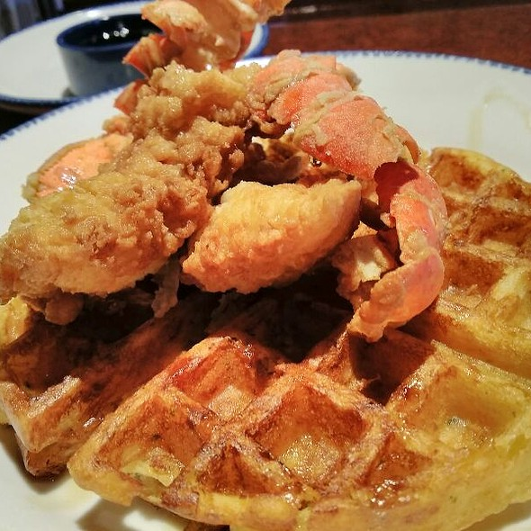 Fried Lobster And Cheddar Bay Biscuit Waffle