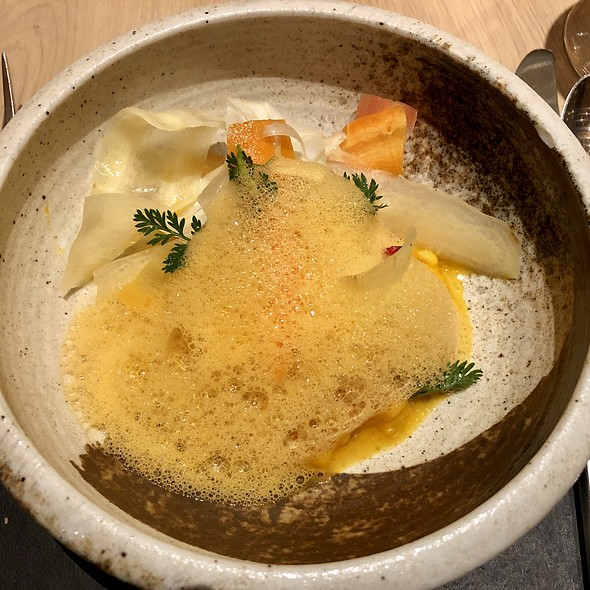 Lobster & Barley Porridge with Carrots, Sea Buckthorn, and Tarragon