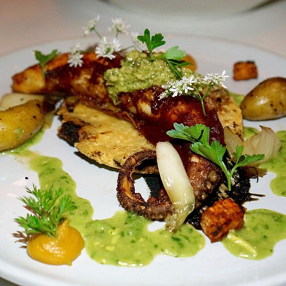 Pulpo – crispy oven-roasted octopus, masa pancake, puya pepper adobo, toasted pumpkins seeds
