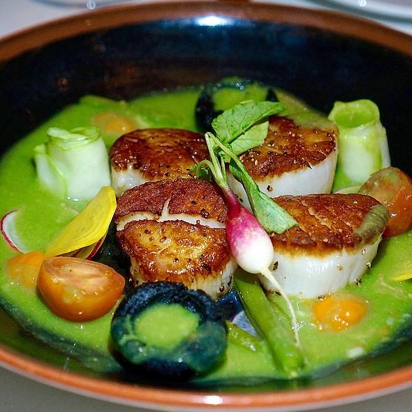 Callo de Hacha – scallops in mole verde, white beans, green beans, chayote, masa dumplings