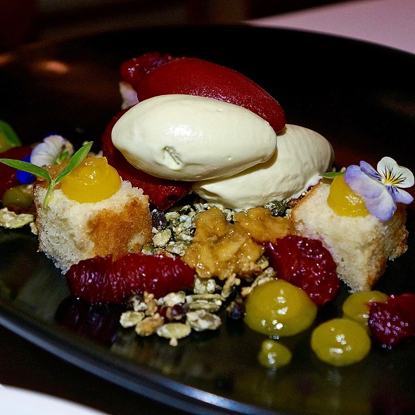 Nieves Oaxaqueñas – raspberry and hoja santa ice cream, olive oil cake, fruit compote, candied ants and pumpkin seeds