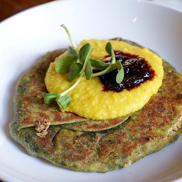 Stuffed Paratha – pan seared spinach flatbread stuffed with cauliflower, paneer, herbs, dal blueberry chutney