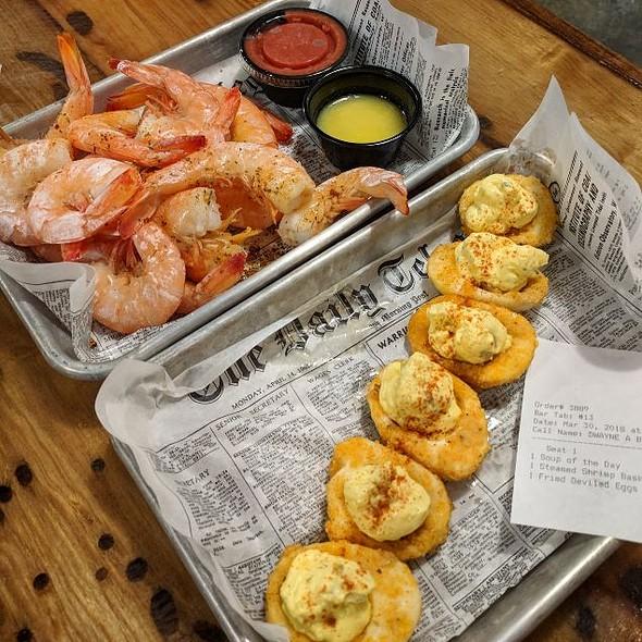 Fried Deviled Eggs & Steamed Shrimp