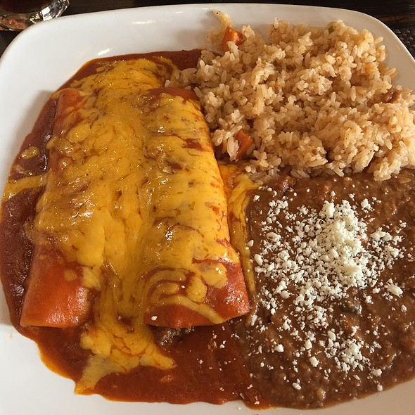 Cheese & Beef Enchiladas with Rice & Refried Beans