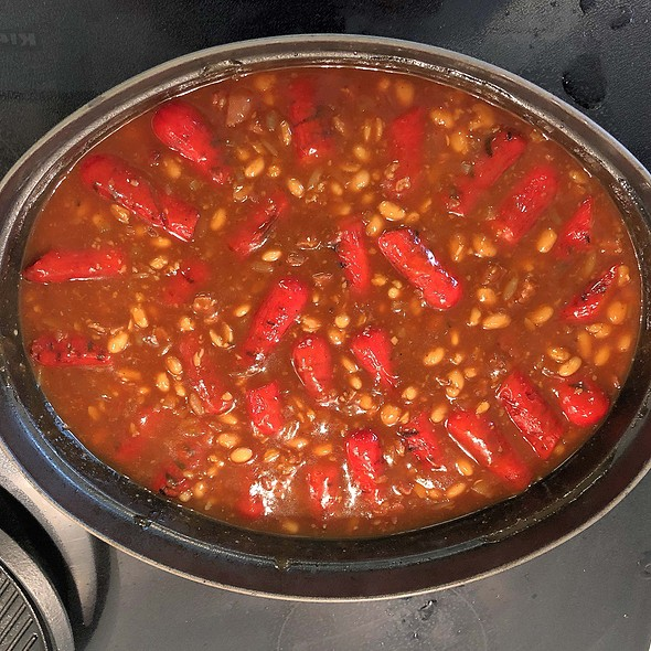 BAKED BEANS WITH HOT DOGS