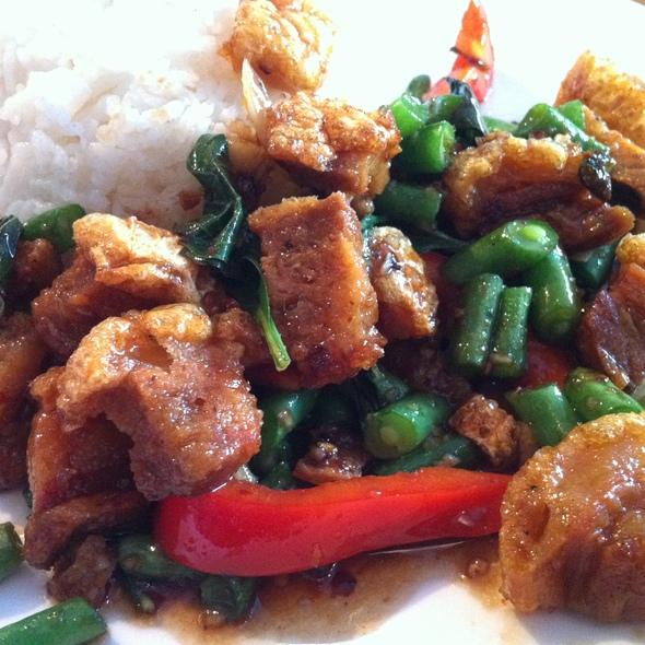 Spicy Basil Crispy Pork Belly @ Wat Dong Moon Lek Noodle