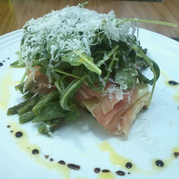 Asparagus Salad, Parmesan Panna Cotta, Prosciutto & Arugula