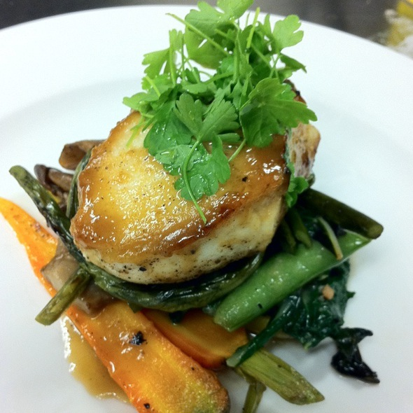 Pan Seared Halibut - Grilled Spring Onion & Ramp Miso Glaze - Multi Colored Carrots - Roasted Oyster Mushroom -Sugar Snap Peas - Grilled Scapes- Micro Parsley @ Triumph Brewing Company