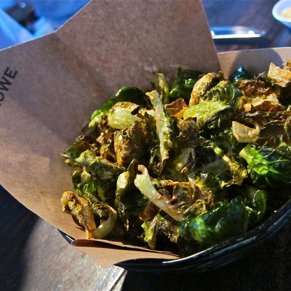 Crispy Brussels sprout chips Meyer lemon, sea salt @ Marlowe