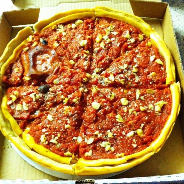 Sausage, Pepperoni, Mushroom, And Garlic Deep Dish Pizza!! @ Berkeley Pizza