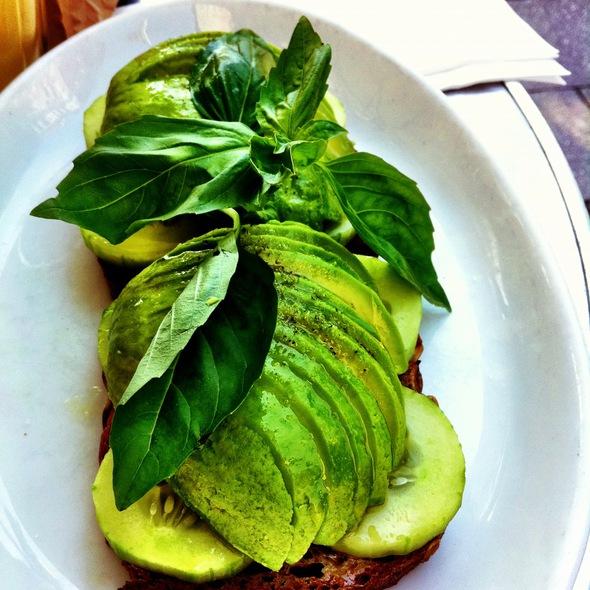 Avocado bread with cucumbers @ Box