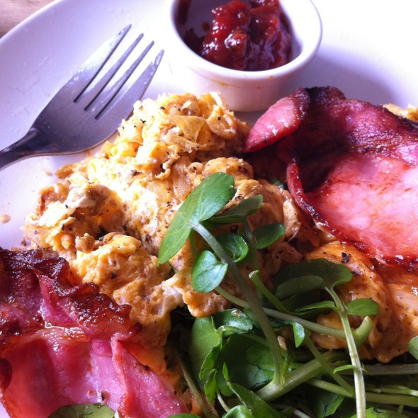 Spicy Mumbai Scramble With Bacon @ The Counter Cafe