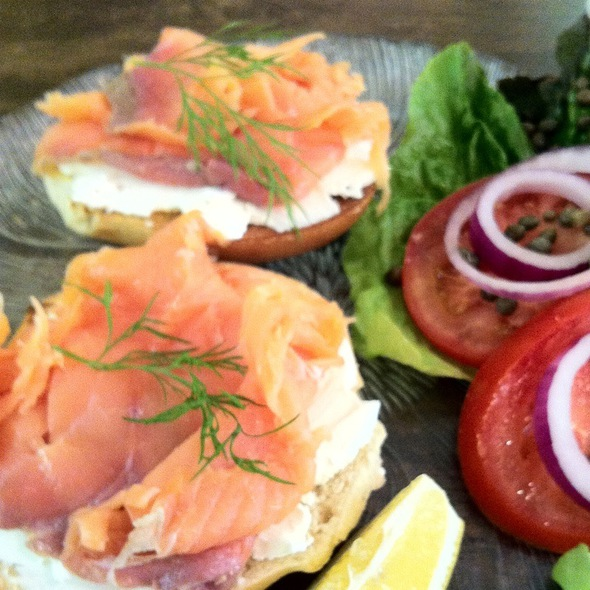 Smoked Salmon On Toasted H&H Bag @ The Hummingbird