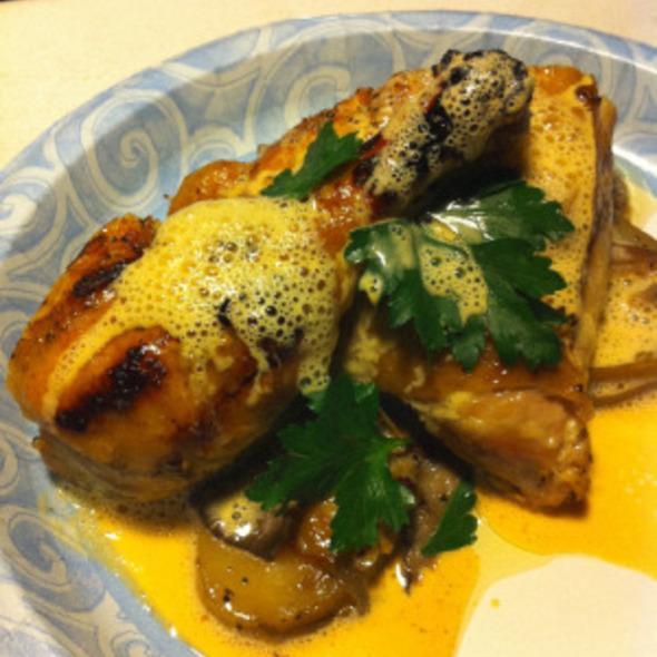 Roasted Chicken, Duck fat potatoes, oyster mushrooms, fresh herbs, saffron cream @ Bacchanal Fine Wine & Spirits