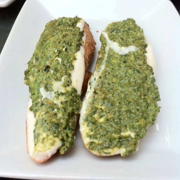 Goat Cheese, Garlic, And Basil Pesto Bruschetta @ Tria
