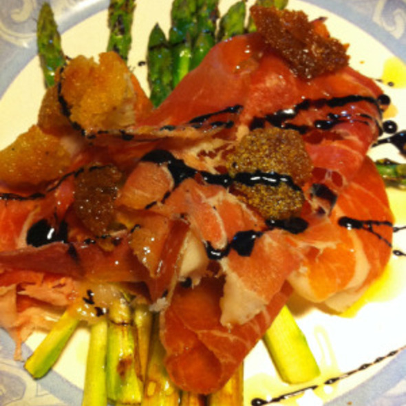 "Grilled Asparagus ""La Quercia"" prosciutto, fried bread, balsamic reduction @ Bacchanal Fine Wine & Spirits"