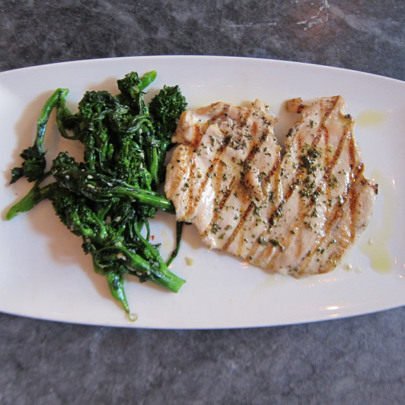 Grilled Chicken Breast: sautéed rapini, olive oil @ Asellina Ristorante