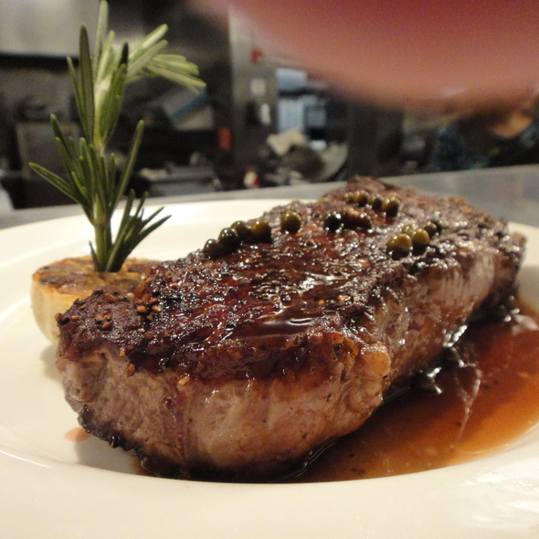 NY Strip Steak with Green Peppercorn Sauce @ The Grill On Pantigo