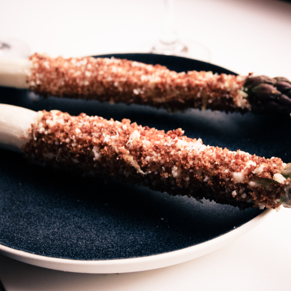white asparagus with zesty crumbs @ Relæ