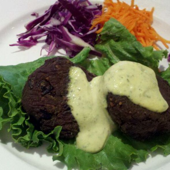 """Tempeh """"Crab"""" Cakes @ It's Only Natural"""