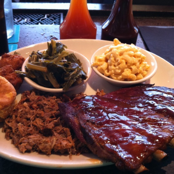 Combo Plate With Chopped Pork And Ribs - The Pit Authentic BBQ