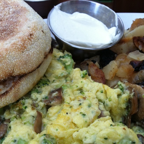 Vegetable Scramble W/ Hashbrowns And An English Muffin @ OPEN CITY