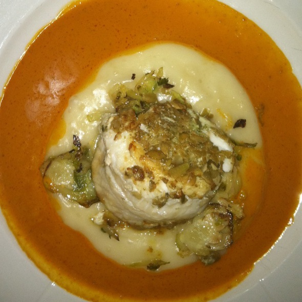 Roasted Sole With Pumpkin Seed Crust, Yucca Fondue, Sauteed Brussel Sprouts, Guajillo Sauce - Ofrenda, New York, NY
