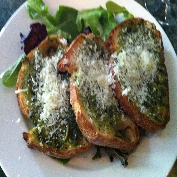 Garlic Bread With Pesto Sauce @ Nob Hill Cafe