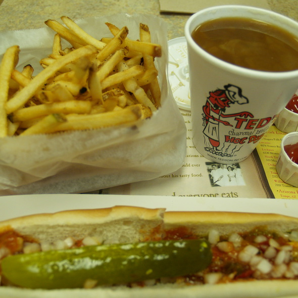 Foot long hot dog with the works at ted s hot dogs