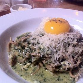 Whole Wheat Chitarra, Nettle Pesto, Farm Fresh Egg Yolk, Ricotta, Pecorino