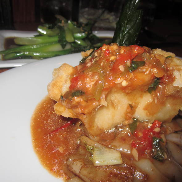 sea bass with drunken noodles