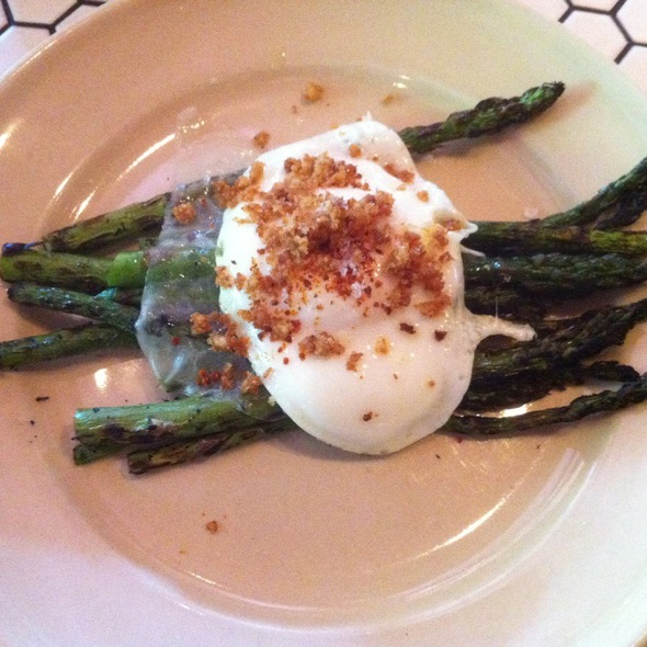 Grilled Asparagus With Olive Oil Fried Egg, Chili Flake @ Palace Kitchen