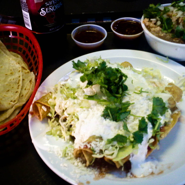 Rolled Tacos, Rice & Beans @ Las Cuatros Milpas
