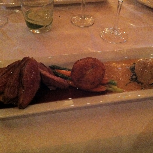 Brome Lake Duck Breast With Confit Ravioli - Characters Fine Dining, Edmonton, AB