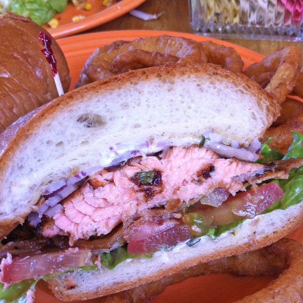 Salmon Club Sandwich @ tied house brewery & cafe