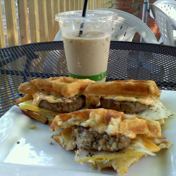 Dosages' W/egg And Spicy Mayo With An Ice Latte