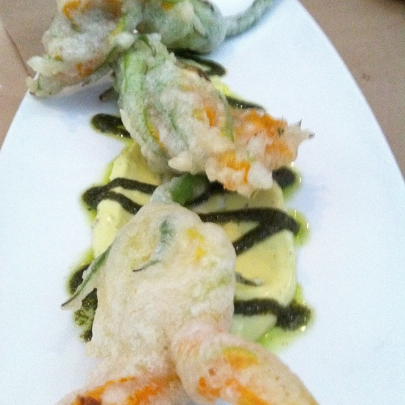 Ricotta Stuffed and Fried Squash Blossoms, Cherry Tomato @ Cucina Urbana