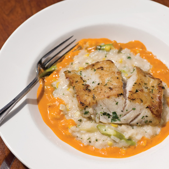 Sea bass with corn and asparagus risotto @ Oceano Bistro