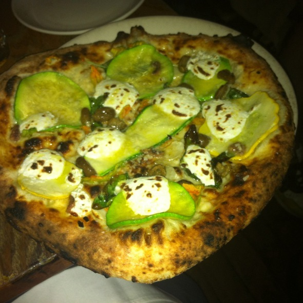 Zucchini, Basil, Garlic, Chilies, Olives, Anchovies and Ricotta Pizza @ franny's
