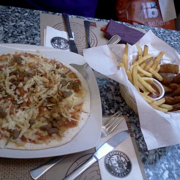 Taco Pizza and Chicken Fingers With Fries @ Joey Pepperoni SM Center Las Pinas