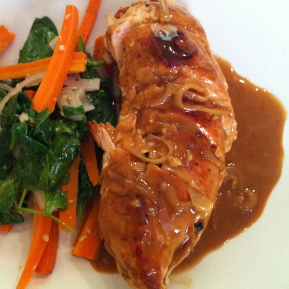 Chicken Breast Stffed With Mushrooms, Almonds, Sundried Tomatoes In Madeira Sauce - The Plaza Bistro, Sonoma, CA
