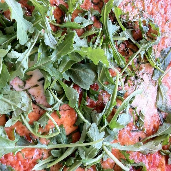 Pizza Margarita With Arugula - Trattoria Grappolo, Santa Ynez, CA