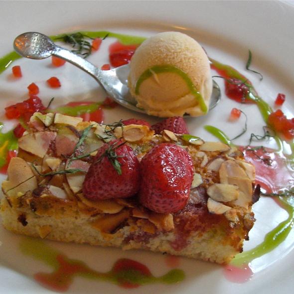 Slow Roasted Strawberries w/ Brown Butter Financier, Frozen Sabayon and Tarragon - Beacon Hill Bistro, Boston, MA