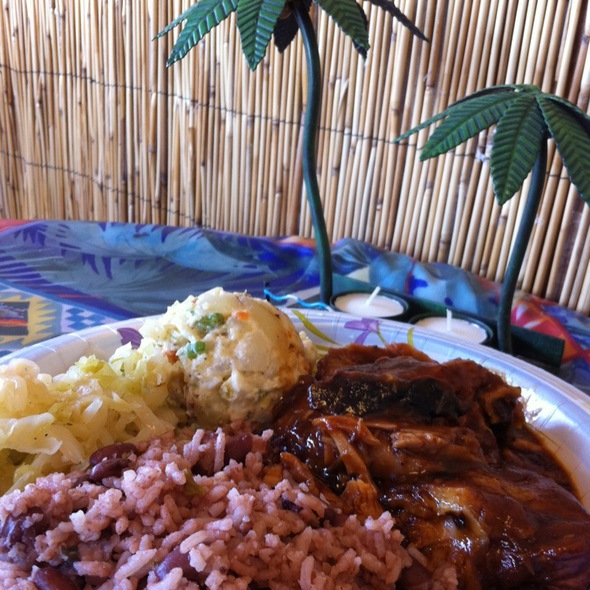 Grilled Chicken, Rice And Beans And Potato Salad @ Mama Jamaica Cafe