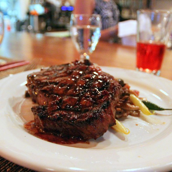 28 Day Dry Aged Nim Rib Eye Steak with Red Wine Sauce @ Mulvaney's B & L