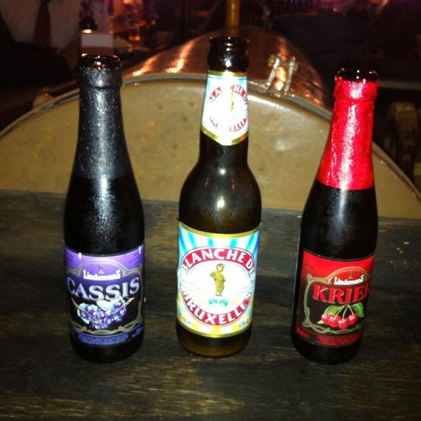 Cervezas Artesanales;Lindemans  Kriek, Cassis, Blanche De Bruxelles,